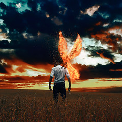 "194/365 • ""Myths"" III (Martin Toto) Tags: conceptual art portrait story fairytale phoenix flames fire sunset outside"