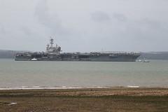 USS George H W Bush (CVN77) (roger_forster) Tags: cvn77 ussgeorgehwbush aircraftcarrier nuclear powered nimitz class stokesbay solent gosport isleofwight hampshire warship navy unitedstates