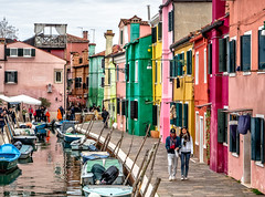 In The Heart Of Burano (derek.dpr) Tags: burano venice venise venezia italy italia canal colours colors colourful streetscene street streetview candid olympus omd em10 on1pics on1