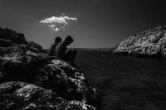 Just a thought (Johnidis) Tags: just thought thoughts cloud beach sea friends thinking together greece crete bw blackandwhite black white monochrome johnidis giannis kritikos nikon d5100