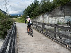 Wooden Bridge over the Maschänser Rüfe Stream, Trimmis, Grisons, Switzerland (jag9889) Tags: 2017 20170728 alpenrhein alpinerhine bicycle bike bridge bridges bruecke brücke ch cantonofgraubunden crossing cycling europe fluss footbridge gr graubunden grisons helvetia holzbrücke infrastructure kantongraubünden landquart outdoor pedestrianbridge pont ponte puente punt rein reno rhein rhin rhine rijn river schweiz span strom structure suisse suiza suizra svizzera swiss switzerland tributary trimmis wasser water waterway woodenbridge jag9889