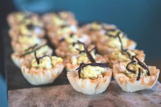 Borani-E-Bademjan - yogurt and eggplant dip with phyllo crust