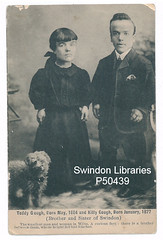 ND: Kitty and Teddy Gough of Swindon (postcard) (Local Studies, Swindon Central Library) Tags: swindon wiltshire postcard p50439 teddy kitty gough teddygough kittygough bw man woman brother sister shortest