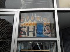 Shoe (navejo) Tags: montreal quebec canada parkex shoe cordonnerie boot window sign