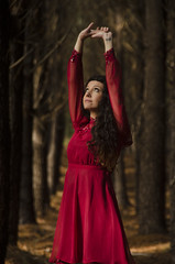 In the Forest... (robinlawrenceoien) Tags: beauty forest winter reddress portrait woodland girl enchanted fairy bush australia adelaide reach style retro vintage