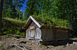 Old traditional wooden Lapland house. The island of Seurasaari, Helsinki, Finland.