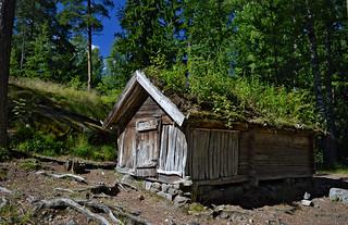 Old traditional wooden Lapland house. The island of Seurasaari, Helsinki, Finland.
