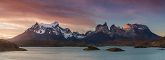 Blue Lake (beaugraph) Tags: patagonia panorama pano chile lakepehoe torresdelpaine sunset mountains lake light snowymountains landscape