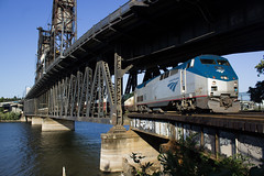 Amtrak Crossing The Steel Bridge (PNW Rails Photography) Tags: portland oregon unitedstates amtrak steel bridge willamette river ge p42dc cascades