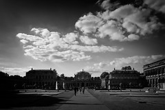 """""""The Zwinger"""" (helmet13) Tags: d800e raw bw dresden germany thezwinger architecture building palace people garden fountain sky clouds peaceful evening summer aoi heartaward peaceaward 100faves world100f"""
