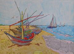 Bateaux de pêche sur la plage de Sainte-Marie-de-la-mer - Van Gogh - 1888_0 (Luc II) Tags: vangogh saintemariedelamer bateaux plage