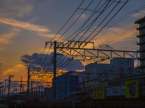 The railway power lines in Kyoto