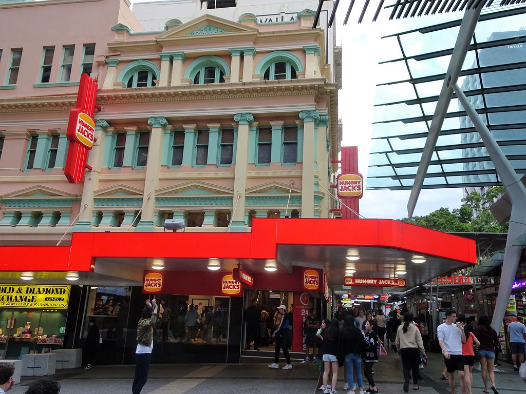 Brisbane. Heritage building of late 19th cenutry in Queen Street mall on the corner of Albert Street. Now a Hungry Jacks fast food outlet.