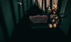 Extinction (Faskirb) Tags: secondlife sl avatar shadows couch corridor horns candle flowers roses lingerie catwa maitreya pinkfuel phedora kokoia i3f littlebones kibitz glitzz jewerly insomnia