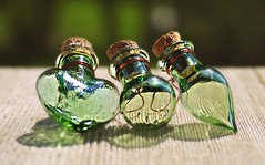 Three Of A Kind (Through Serena's Lens) Tags: mm macromondays three miniature bottles glass bokeh dof stilllife sunlight outdoor shiny transparent 7dwf odc shadow