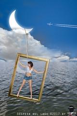 SOSPESA SUL LAGO (ADRIANO ART FOR PASSION) Tags: lago cornice modella ragazza luna nuvole immaginazione sogno fotomontaggio photoshop lake girl clouds dream photomontage photoshopcreativo