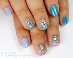 rhinestone_nail_art (-Yue) Tags: nails nail art polish rhinestones microbeads blue teal purple lilac negative space