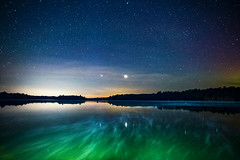 Pair of Planets (Matt Molloy) Tags: mattmolloy photography colourful night sky stars planets clouds light auroraborealis northernlights green glow water reflection steam trees haskinspoint littlecranberrylake seeleysbay ontario canada landscape nature lovelife venus uranus