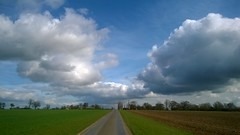 Late morning, so these cumulus clouds have had time to form/develop! Arable land, East Anglia, England. (Jo. Jo.) Tags: spring vanishing point cumulus developing clouds road straight east anglia countryside trees horizon