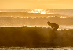 Catching the first rays (lizcaldwell72) Tags: water surfer sky hawkesbay newzealand sunrise napier light
