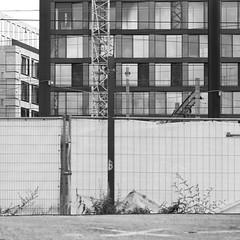 europaallee hinter den gleisen (zeh.hah.es.) Tags: zurich zürich schweiz switzerland europaallee bahnhof hauptbahnhof bauzaun baustelle station construction fence constructionsite bw sw bn kran baukran crane raster