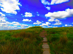 Floating Towards (Neale H) Tags: countryside rural path nature clouds blue skies rivington rivingtonpike floating