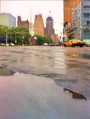 Newark in a Summer Rain (Andrew Aliferis) Tags: rain weather newark new jersey nj andrew andy aga aliferis water puddle road broad street downtown urban