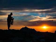 Old man on the mountain. (nevadoyerupaja) Tags: climbing summer grandteton guiding usa wyoming coiling rope mountaineer preparation sunset tetons man