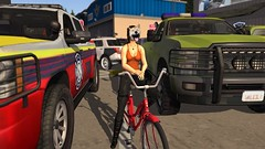 Undercover (alexandriabrangwin) Tags: alexandriabrangwin secondlife 3d cgi computer graphics virtual world photography norway sim airport big rugged off roaders 4x4 emergency service vehicles red bike silly funny dog mask kooky laughing riding orange tank top cargo pants buckle boots fire police rescue trucks tarmac runway