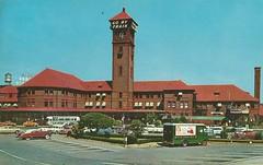 Go By Train- Portland, 1960s (912greens) Tags: railroads trains rails stations depots portland oregon 1960s postcards towers