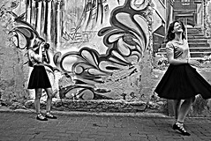 The joy of life (Roi.C) Tags: street people black white blackandwhite blackwhite nikkor nikond5300 nikon candid europe poland fotografer girls standing dancing