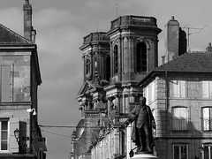 Langres (Andy WXx2009) Tags: outdoors cityscape buildings skyline langres cathedral church statue blackandwhite monochrome artistic history culture landmark religion streetphotography architecture france europe city urban