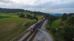 Evening Delivery (nrvtrains) Tags: shawsville evening intermodal drone crossing 29g norfolksouthern field virginia unitedstates us