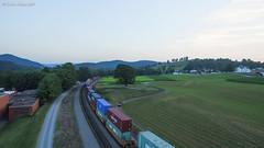 Sunset Fading (nrvtrains) Tags: intermodal truck drone sunset 29g norfolksouthern field shawsville virginia unitedstates us