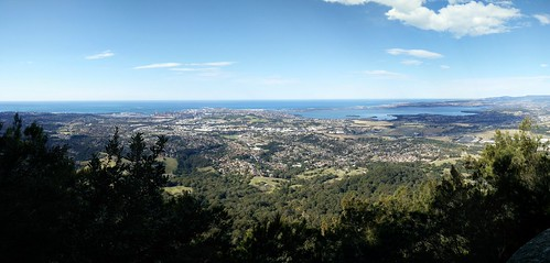 Port Kembla and Lake Illawarra from Mount Kembla Summit