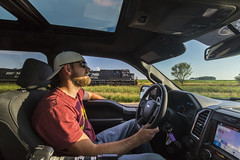 Pacing 471 with Jason on the DME (John Fladung) Tags: fordf150 2016fordf150 fordtruck builtfordtough jasonrathbun train railroad pace paceshot norfolksouthern ns ns9878 peopletrains humanelement goodtimes railfans wideangle wideanglelens