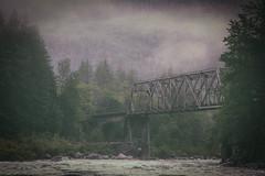 Trestle Mist (MontanaRoots (aka Craig)) Tags: river railroad trestle mist analog vintage texture washington skykomish