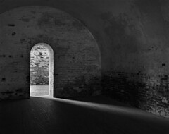 Fort Macon (F. Neil S.) Tags: 19thcentury fort brick wood wistavx 4x5 fieldcamera arista eduultra100 pyro pyrocathd sunlight lightbeam blackandwhite sheet film stearman selfdev shadows blancetnoir monochrome