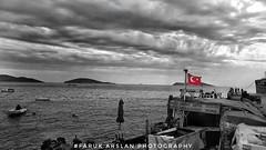 Turkey Flag... (farukarslan1) Tags: turkey turkish flag tr water sea bnw bw black white nature natural cloud bulut hdr balıkçı tekne fisher boat