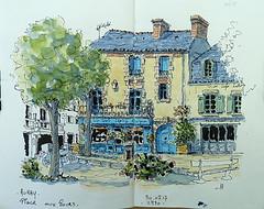 La place aux Roues. (Jean-Paul Rivière) Tags: ink pittartistpen pentel watercolour sketch aquarelle auray
