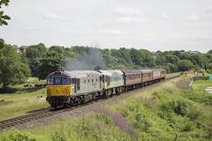 33109 + D7629 2E37 (MitchellTurnbull) Tags: class 33 25 diesel locomotive locomotives d7629 two tone green 33109 captain bill smith rnr elr east lancashire railway summer gala 8th july 2017 nikon d3200 rail photography double header