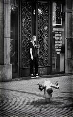 Open Till Seven (Fouquier ॐ) Tags: blackandwhite bw street girl smoking antwerp belgium canonef85mmf12liiusm hydrant firehydrant