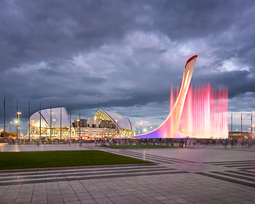 Music Fountain and Olympic Stadium Fisht in the Evening, Sochi, Russia