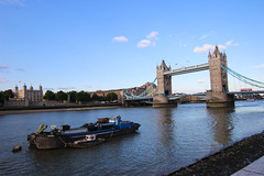 Old barge stealing the limelight (Harmonious Discord) Tags: barge riverthames london towerbridge toweroflondon