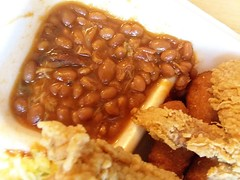 Baked Beans. (dccradio) Tags: lumberton nc northcarolina robesoncounty smithfields takeout drivethru food eat meal lunch supper dinner combo bbq barbecue barbque friedchicken bbqpork barbecuepork pulledpork barbquepork beans bakedbeans hushpuppies slaw coleslaw samsung galaxy cellphonepicture indoors inside meat