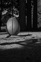 Wooden Egg (Nomade Moderne) Tags: wood vancouver xe2 monochrome xf35mmf14r fuji blackandwhite sculpture egg ubc fujifilm playground
