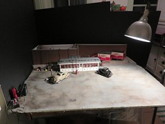Setup Shot of the Elgin Diner at Night (Michael Paul Smith) Tags: setup shot 124th scale diner diecast cars night scene diorama