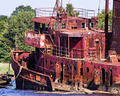 Rusty Red (brianloganphoto) Tags: ship maritime newyorknyc color shipping landcape statenisland harbor abandoned debris arthurkill red newyork unitedstates us