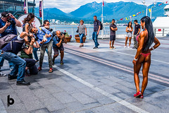 A gaggle of photograhpers (Culinary Fool) Tags: myriamcasper bc stranger britishcolumbia massimobassano vancouver 2017 photographer culinaryfool northshoremountains canadaplace brendapederson streetphotography july canada bodybuilder weighlifter woman vancouverharbor