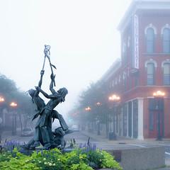 La Crosse (David*M) Tags: lacrosse wisconsin sony rx1 statue sport foggy morning lightroom